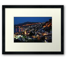Yialos night time, Symi Framed Print