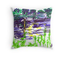 ALLEGHENY RIVER SEEN FROM A CANOE Throw Pillow