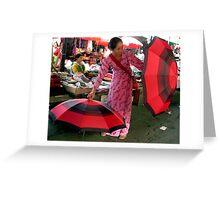 Umbrellas, Dali. Yunnan, South China Greeting Card
