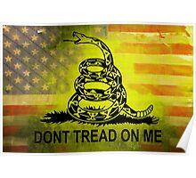 Don't Tread on Me Shirts & Sticker American Flag Background Poster