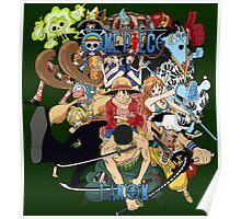 one piece anime straw hat crew shirt Poster