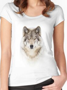 Portrait of a Wolf - Timber Wolf Women's Fitted Scoop T-Shirt