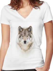 Portrait of a Wolf - Timber Wolf Women's Fitted V-Neck T-Shirt