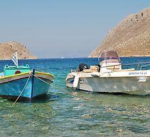 Pedi harbour boats, Symi by David Fowler