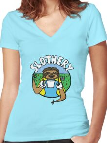 Slothery Women's Fitted V-Neck T-Shirt