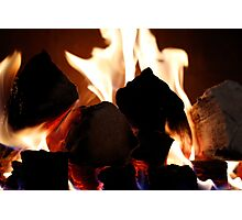 soft focus background of flames from a fire place Photographic Print