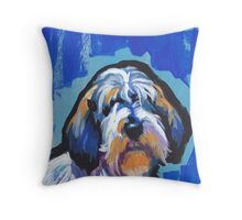 PBGV petit basset griffon vendeen Bright colorful pop dog art Throw Pillow