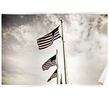 American Flags under the Washington Monument Poster