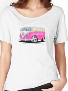 VW Splitty (23 Window) Camper Van Pink Women's Relaxed Fit T-Shirt