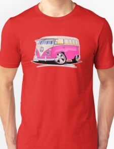 VW Splitty (23 Window) Camper Van Pink T-Shirt