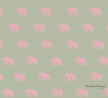 Pink Elephant Pattern Beige Background by Yannik Hay