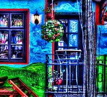 Colored Restaurant Facade Skadarlija Belgrade  by stockfineart