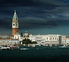 St. Marks, Doges Palace & Grand Canal, Venice, Italy by Edward J. Laquale