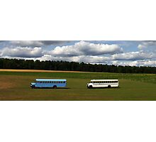 Left Bus - Right Bus - Blue Bus - White Bus Photographic Print