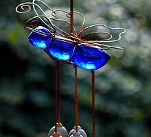 Cobalt Blue Glass Butterfly Wind Chime | Center Moriches, New York  by © Sophie W. Smith