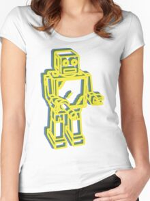 Robot Pop Art Graphic Women's Fitted Scoop T-Shirt