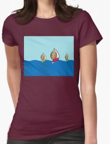 Sailing boats on the Belgian coast Womens Fitted T-Shirt