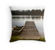 Row Boat on Savage Lake, MT Throw Pillow