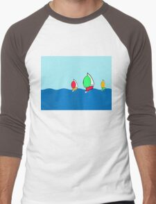 Sailing boats with brightly coloured spinnakers Men's Baseball ¾ T-Shirt