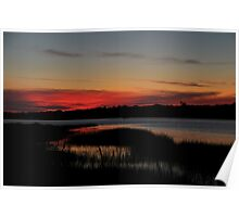 sunset over quogue, penniman bay Poster