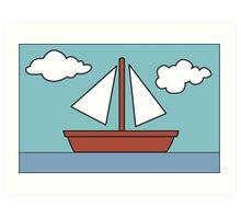 Simpsons Sailboat Painting Art Print