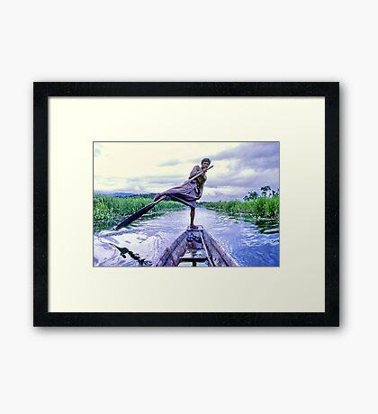 Leg rower, Inle Lake, Burma Framed Print