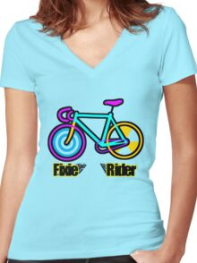 Fixie Rider Women's Fitted V-Neck T-Shirt