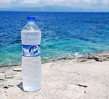 Water bottle at Arkoudaki, Paxos by David Fowler