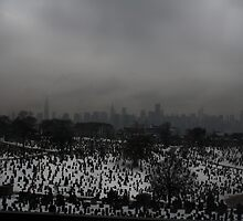 New York Skyline over Cemetery by taytehampton