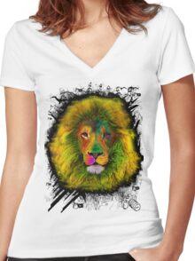 OCD LION HEAD Women's Fitted V-Neck T-Shirt
