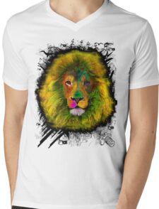 OCD LION HEAD Mens V-Neck T-Shirt