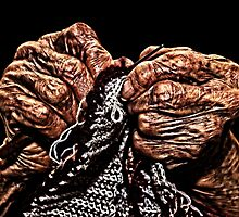 Old Hands Knitting by stockfineart