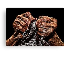 Old Hands Knitting Canvas Print