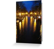 Amsterdam Channel Lights Greeting Card