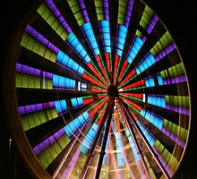 Ferris Wheel lights. by Steve Chapple