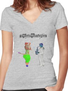 Melodears.   Women's Fitted V-Neck T-Shirt