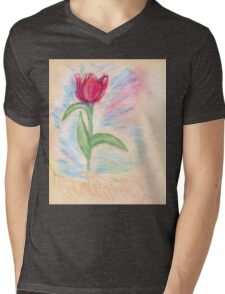 Chalk Drawn Tulip 2 Mens V-Neck T-Shirt