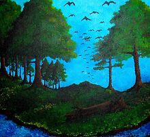At Rivers Bend Birds Come Home to Roost by Annastaysia Savage of AJ SavageArt