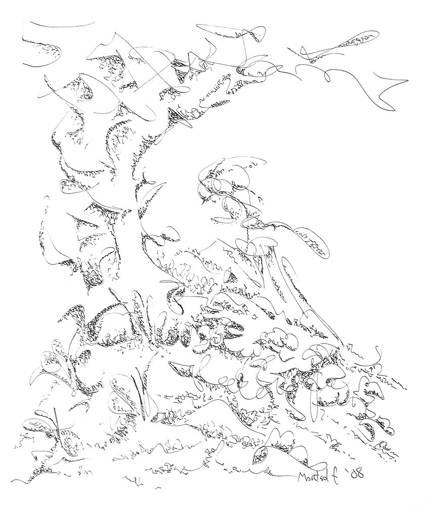 """In the Hills - pen and ink on paper - 9"""" x10"""" by Dave Martsolf"""