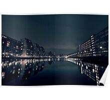 Salford Quays at night Poster