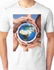 Multiracial hands making a circle together around the world globe art photo print Unisex T-Shirt
