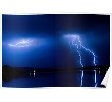 Lightning Storm Over the Lake Poster