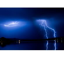 Lightning Storm Over the Lake Photographic Print