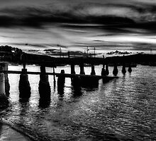 Pier Support (Monochrome) - Clareville - Tnhe HDR Experience by Philip Johnson