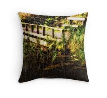 Bench By The Reeds Throw Pillow