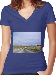 Where in the world is KJ  Women's Fitted V-Neck T-Shirt