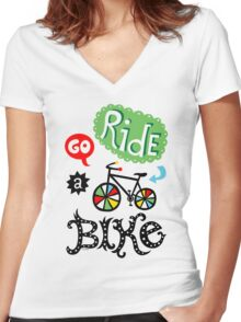 Go Ride a Bike   Women's Fitted V-Neck T-Shirt