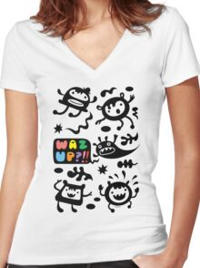 Waz Up   Women's Fitted V-Neck T-Shirt