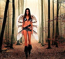 Angel in the forest Fine Art Print by stockfineart