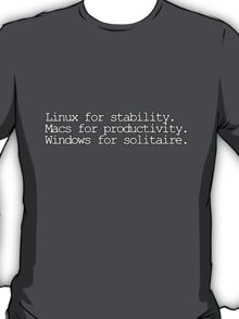 Linux for stability. Macs for productivity. Windows for solitaire T-Shirt